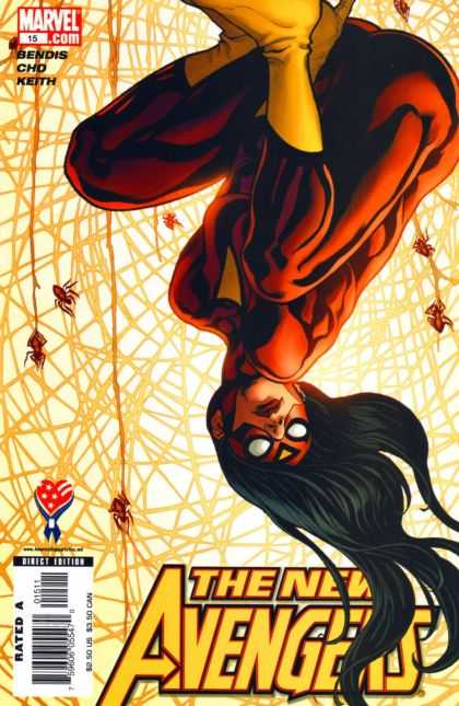 New Avengers 15 - Upside Down - Yellow Boots - Long Hair - Spiders - Hanging - Frank Cho