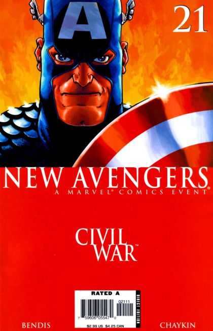 New Avengers 21 - Captain America - Flames - Civil War - Shield - Bendis - Howard Chaykin