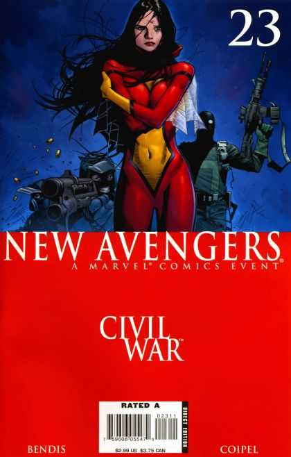 New Avengers 23 - Civil War - Soldiers - Guns - Woman - Costume - Olivier Coipel