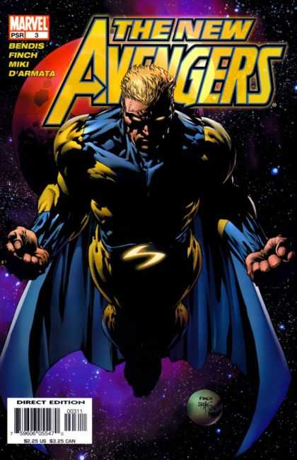 New Avengers 3 - Space - Planet - Blonde Hair - Blue Cape - Flying - David Finch