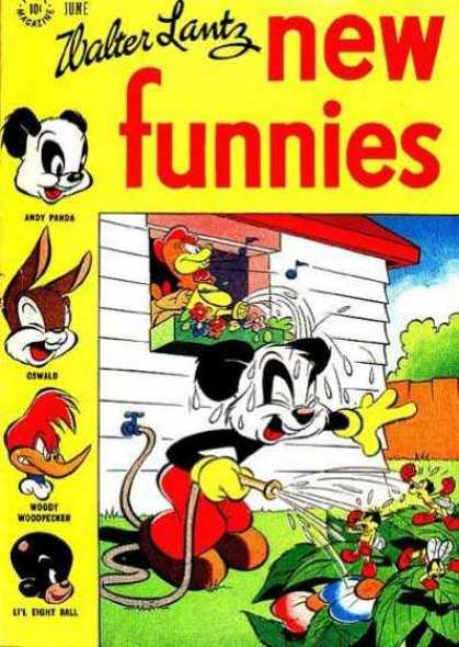 New Funnies 124 - Walter Lantz - Ther Are Few Funnes In The Picher - Micky Porring Water For The Plantsbut Hen Porring The Water Into The Mickys Head - All The Bees Are Shouting To Stop The Water - The Hen Is Singing The Song Without Seeing Where The Water Is Porring