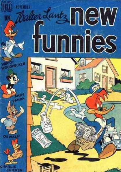 New Funnies 153 - Woody Woodpecker - Walter Lantz - Milkman - Cartoons - Humor