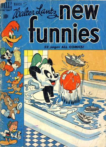 New Funnies 157 - Bath - Panda - Balloon - Toy Boat - Woody Woodpecker