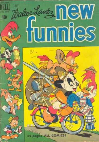 New Funnies 161 - Woody Woodpecker - Panda - Pinocchio - Rooster - Bicycle
