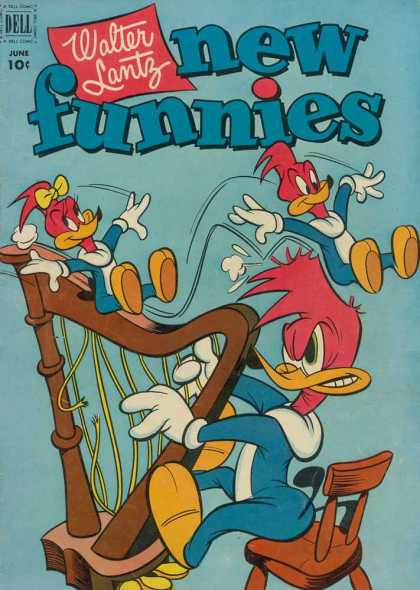 New Funnies 184 - Harp - Woody Woodpecker - Children Woodpeckers - Playing - Walter Lantz