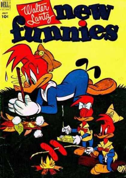 New Funnies 185 - Woody Woodpecker - Walter Lantz - Humor - Children - Dell Comics