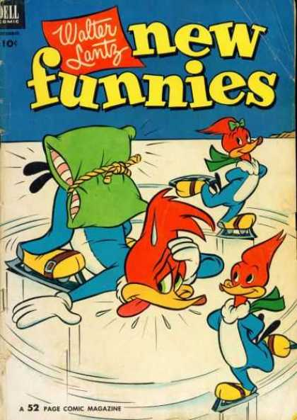 New Funnies 190 - Woody Woodpecker - Ice Skating - Pillow - Fall - Ice