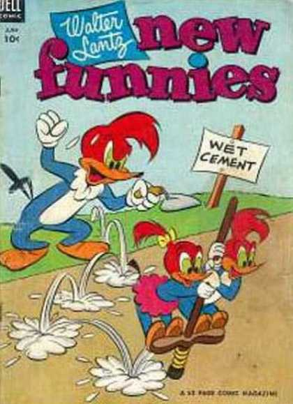 New Funnies 196 - Dell Comic - Walter Lantz - Wet Cement - Woodpecker - Road