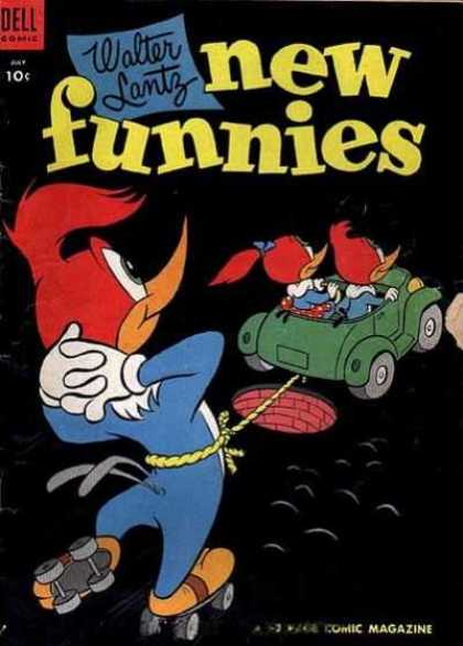 New Funnies 209 - Woody Woodpecker - Car - Manhole - Rope - Roller Skates