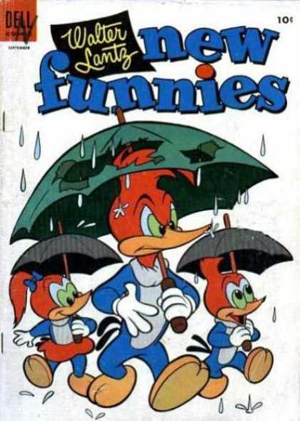 New Funnies 211 - Woody Woodpecker - Umbrella - Rain - Dell - Walking