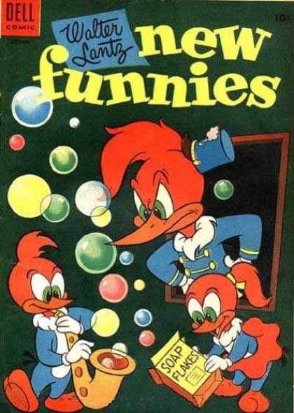 New Funnies 212 - Woodpecker - Trumpet - Bubbles - Window - Soap Flakes