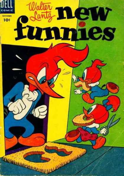 New Funnies 213 - Walter Lantz - Woddie Woodpecker - Beard - Mustache - Door Mat