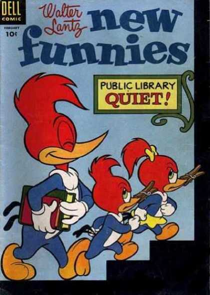 New Funnies 216 - Woody Woodpecker - Woody Goes To The Library - Woody Gets Books - Woody Gets The Kids Mad - Woody And The Kids