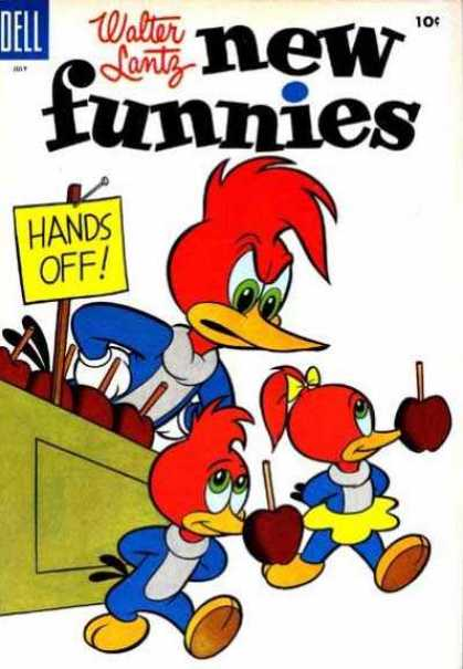 New Funnies 221 - Walter Lantz - Woody Woodpecker - Candied Apples - Hands Off Sign - Counter