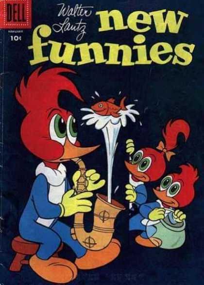New Funnies 228 - Woody Woodpecker - Saxophone - Fish - Fish Bowl - Walter Lantz