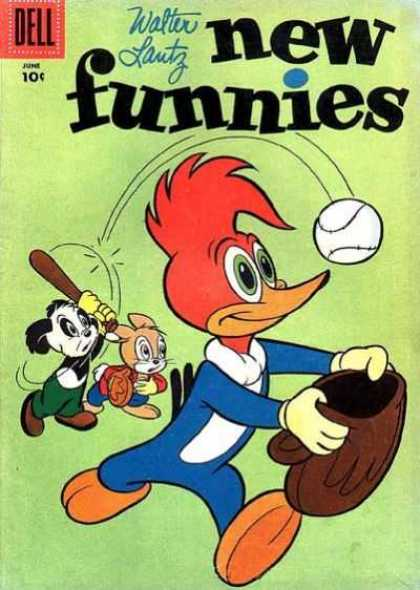 New Funnies 232 - Dell - Comic - Woody Woodpecker - Baseball
