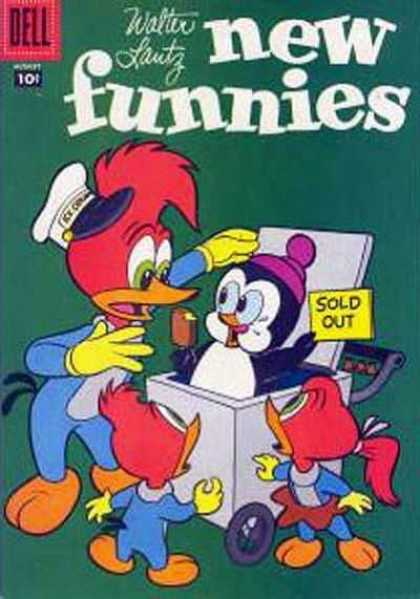 New Funnies 246 - Dell - Woody Woodpecker - Walter Lantz - Penguin - Ice Cream
