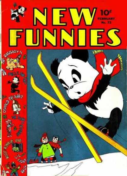 New Funnies 72 - Panda - Skis - 10 Cents - February - Oswald The Rabbit