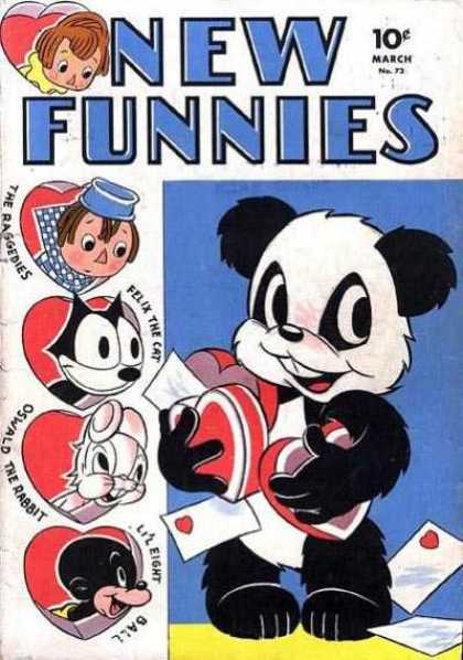 New Funnies 73 - The Raggedies - Felix The Cat - Oswald The Rabbit - Lil Eight Ball - Valentines