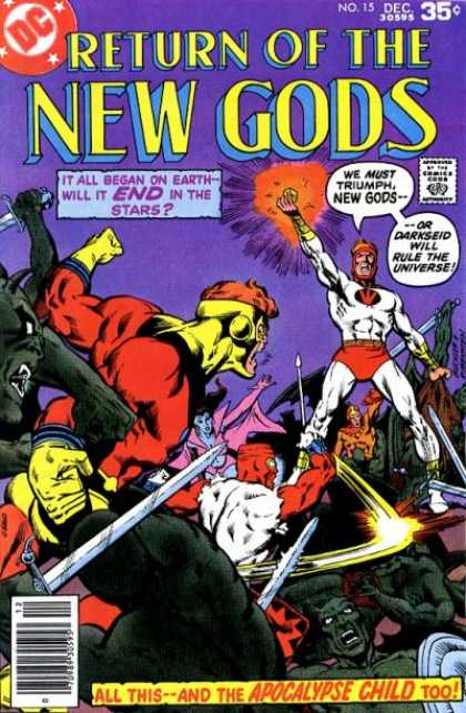 New Gods 15 - It All Began On Earth - Will It End In The Stars - We Must Triumph New Gods - Or Darkseid Will Rule The Universe - All This - And The Apocalypse Child Too - Return Of The - Josef Rubinstein, Richard Buckler