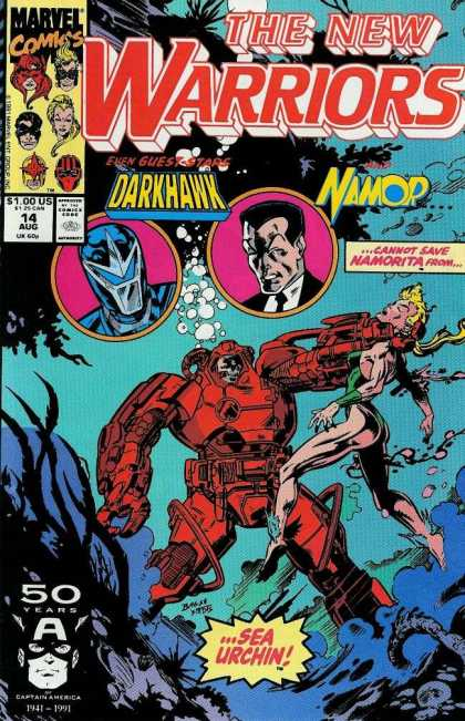 New Warriors 14 - Darkhawk - Namor - Underwater - Namorita - Sea Urchin - Mark Bagley