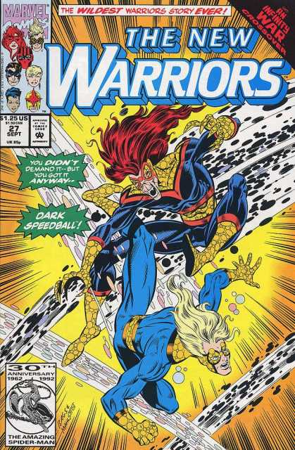 New Warriors 27 - Marvel - Marvel Comics - The New Warriors - Speedball - Fight - Mark Bagley