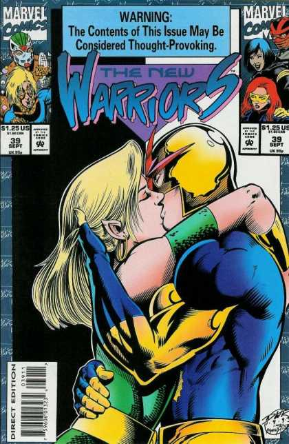 New Warriors 39 - Marvel Comics - Contents Of This Issue May Be Considered Thought-provoking - Kissing - Direct Edition - 39 Sept - Darick Robertson