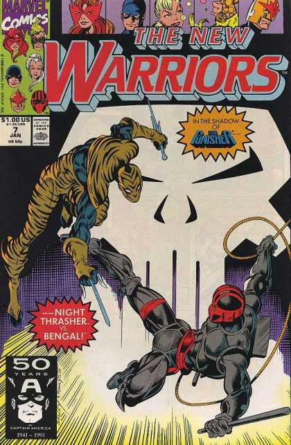 New Warriors 7 - Marvel Comics - In The Shadow Of The Punisher - Night Thrasher Vs Bengal - January 7 - White Skull - Darick Robertson, Mark Bagley