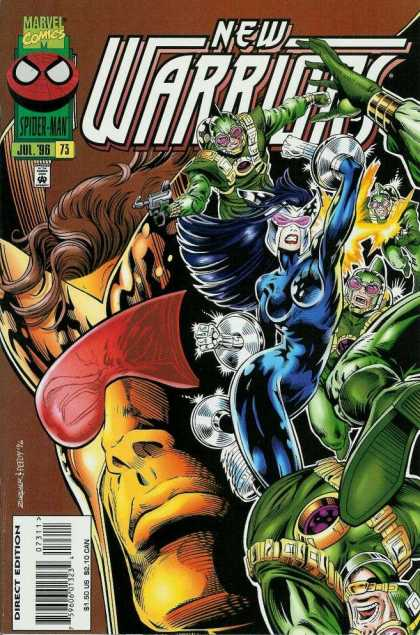 New Warriors 73 - Marvel Comics - New Warriors - Blue Woman - Green People - July 96