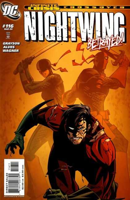 Nightwing 116 - Infinite Crisis Crossover - Nightwing Betrayed - Ninjas - Swords - Torn Costume - Phil Hester