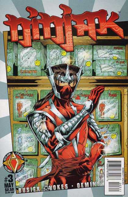 Ninjak 3 - Masked Person - 3 - Toys In Background - Red Sash - Fighting Stance - Jimmy Palmiotti, Joe Quesada