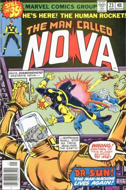 Nova 23 - Marvel - The Human Rocket - Diamondhead - Dr Sun - The Man-machine Lives Again - Bob McLeod, Carmine Infantino