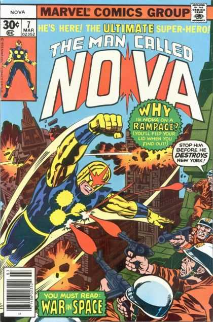 Nova 7 - Rampage - Destroyed Buildings - War In Space - The Ultimate Superhero - Guns - Adi Granov, Jack Kirby