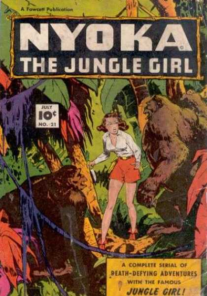 Nyoka the Jungle Girl 21 - Gorillas - Palm Trees - Red Shorts - White Shirt - Vines