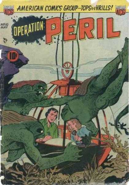 Operation Peril 10 - American Comics Group - Sea Bed - Telephone - Monsters - Underwater