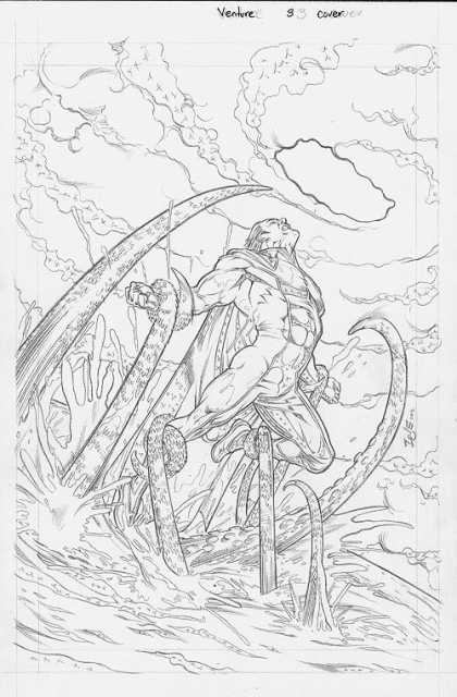 Original Cover Art - Venture - Octopus - Sky - Water - Super Hero - Muscles