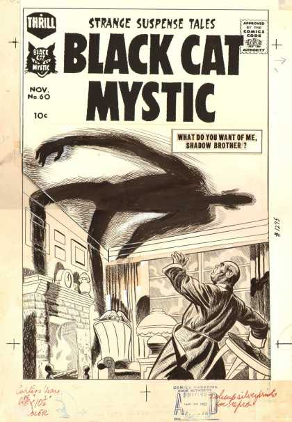 Original Cover Art - Black Cat Mystic #60 Cover (1957) - Comics Code - Black Cat Mystic - Shadow - Man - Room