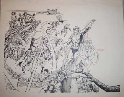 Original Cover Art - Who's Who: of the DC Universe #1 Wraparound Cover (1985) - Drawing - Branch - Superfriends - Flying - Voltage