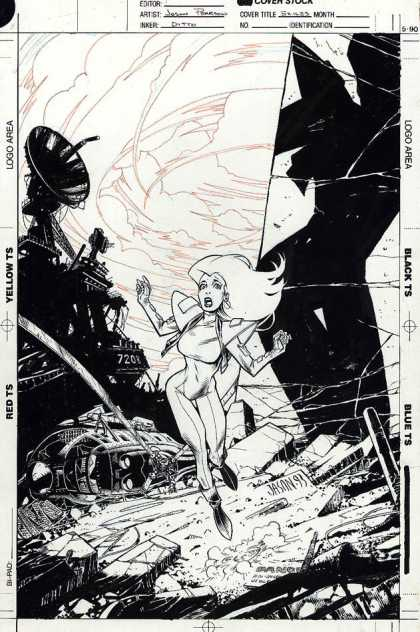 Original Cover Art - Exiles - Satellite - Futuristic - Destruction - Broken - Running