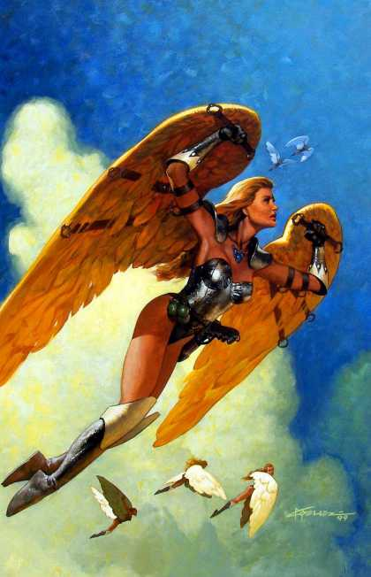 Original Cover Art - Amazing Stories #600 Huge Cover Painting (1999) - Wings - Woman - Costume - Sky - Clouds