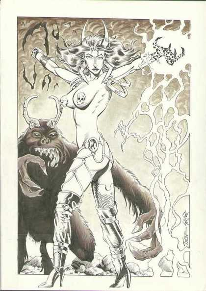 Original Cover Art - Necrotika #1 Cover - Horns - Monster - Skull - Boots