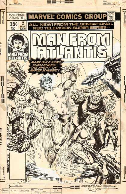 Original Cover Art - Man From Atlantis #2 Cover (1977) - Man From Atlantis - Nbc Television - Mister Schubert - Guns - Splash