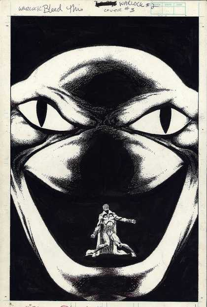 Original Cover Art - Warlock #2 Back Cover Art (1982) - Swallow - Warlock - Trapped - Reptile - Snake