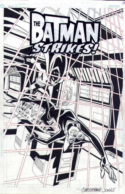 Original Cover Art - The Batman Strikes #27 Cover - The Batman Strikes - Battle - Costumes - Superhero - Lazer Cage