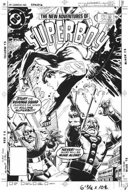 Original Cover Art - Superboy - Superboy - Revenge Squad - Black And White - Superman - Honor