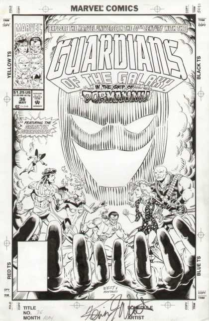 Original Cover Art - Guardians of the Galaxy - Marvel - Guardians Of The Galaxy - Black And White - Superheroes - Hands