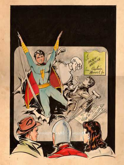 Original Cover Art - Master Comics #57 Cover (Large Art) 1944 - Superhero - Man - Glasses - Woman - Dickie Murray