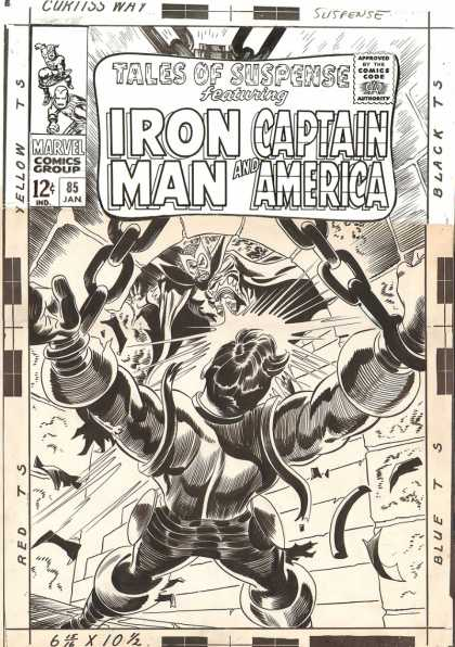 Original Cover Art - Tales Of Suspense #85 DRAWN COVER (Large Art) 1966 - Iron Man - Captain America - Tales Of Suspense - Marvel - January