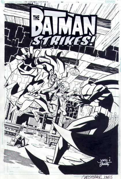 Original Cover Art - The Batman Strikes #28 Cover - Christopher Jones - Black And White Graphic - Overturned Broken Chair - Beamed Ceiling - Chain Link Fence
