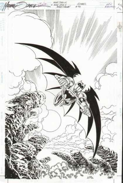 Original Cover Art - Azrael - Clouds - Black And White - Batman - Motorcycle - Smoke